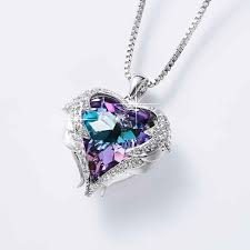 angel wings necklaces crystal heart