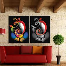 100 hand painted om ganesha ganpati oil painting on canvas with regard to newest abstract on ganesh 3d wall art with 2018 latest abstract ganesha wall art