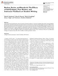 Pdf Review Revise And Resubmit The Effects Of Self Critique