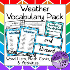 Weather Vocabulary Pack Word Lists Flash Cards Activities