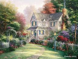 thomas kinkade original oil painting victorian garden ll art prints famous landscape painting hotel home decor