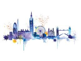 london skyline watercolour painting print on canvas