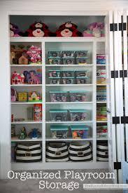 organized playroom storage