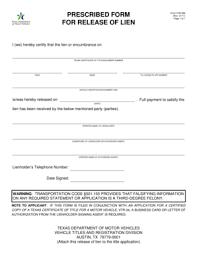 car lien release new jerseyBill Of Sale Form Texas Prescribed Lien Release Form Templates