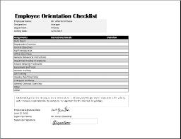 Employee Orientation Checklist Template Word Excel Templates