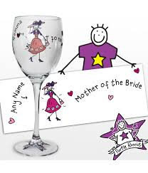 tag personalised purple ronnie wedding mother of the bride wine glass
