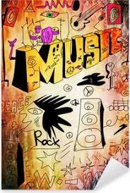 Doodle Retro Hudební Scény Pozadí Ručně Kreslenými
