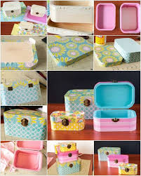 4 paper and mod podge covered wooden jewelry boxes