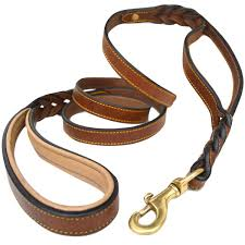 com soft touch collars 6 foot braided leather dog leash with traffic handle two handles for training and safety double your control with 2