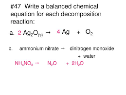 balanced chemical equation for ammonium nitrate and water