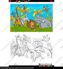 Safari Animals Template Royalty Free Vector 23342453 Cartoon Safari Animal Characters Coloring Book