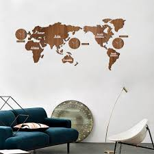 creative wooden world map wall clock 3d map decorative design home decor living room modern european style round mute relogio de parede oversized clocks