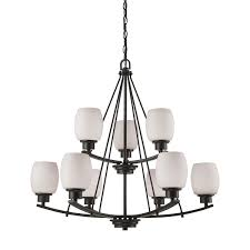 thomas lighting cn170921 casual mission 9 light chandelier in oil rubbed bronze with white lined glass