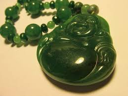 emerald green jade laughing buddha pendant with green jade bead necklace 19
