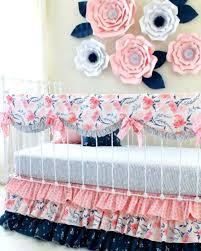 baby girl crib bedding pink and navy print mix watercolor whispers ruffle crib set baby girl