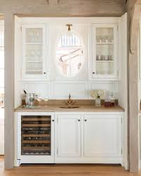 gray wood top wet bar with antique brass vintage faucet