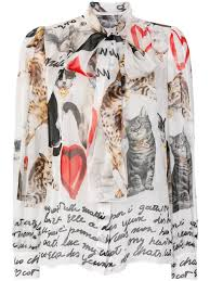 dolce gabbana cat print blouse white women attractive d g women clothing outlet