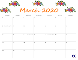 Month Of March Calendar 2020 Printable March 2020 Calendar Calendar Kart