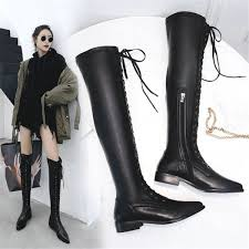 <b>NAYIDUYUN Thigh High</b> Boots Women Black Cow Leather Lace Up ...