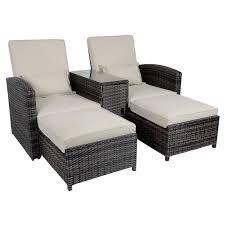 Patio Recliner Chairs Antigua Rattan Wicker Reclining Sun Lounger Companion Chair Garden