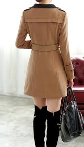 chic women trendy tan wool savvy trench pea coat