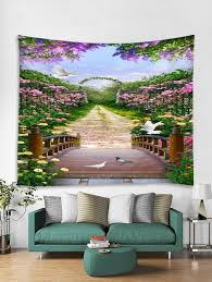 garden trail print tapestry wall hanging art decoration w79 x l59 inch