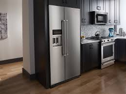 kitchenaid 22 7 cu ft side by side counter depth refrigerator monochromatic stainless steel at pacific s