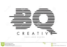 BQ B Q Zebra Letter Logo Design with Black and White Stripes