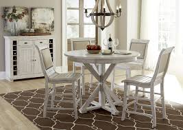 White Distressed Kitchen Table Distressed Finish Rectangular Counter Height Table With 2 Shelves