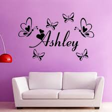 custom english name butterflies wall art stickers baby girl bedroom decoration wall sticker flower vinyl decal quote home decor in wall stickers from home  on wall art bedroom stickers with custom english name butterflies wall art stickers baby girl bedroom
