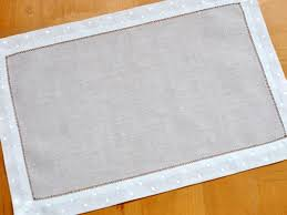 pc set white hemstitched linen placemats wdot border