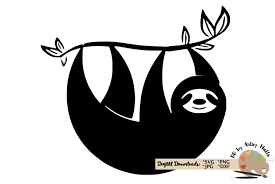 Free svg and png downloads! Sloth Silhouette Svg Cut File Sloth Svg Funny Cute Sloth 131277 Svgs Design Bundles