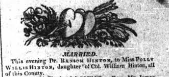 Marriage of Polly Willis Hinton, daughter of Col William Hinton to Dr  Ransom Hinton - Newspapers.com