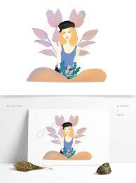 オリジナルの商用手描きの夏の新鮮な女の子のデザインイラスト画像png