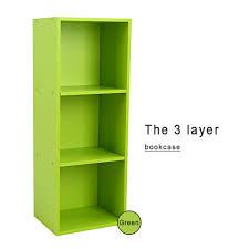walfront 3 tier open wood bookcase storage bookshelf display shelf diy closet organization stand rack cube shelving unit 9 3 x 11 8 x 31 4 inches green