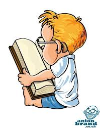 jan 4 cute little cartoon boy reading a big book