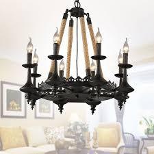 8 light rope iron chandelier 8809 d8