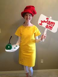 homemade sam i am costume for the last day of dr seuss week felt and fabric puff paint pla a huge part in creating this lo