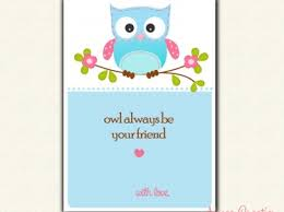 owl valentine s day cards to print. Fine Valentine Owl Valentines Day Card PRINTABLE For Children Perfect School  Blue  Boys Girls Intended Valentine S Cards To Print