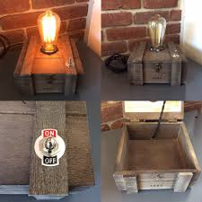 Man Cave String Lights Cigar Box Lamp With Edison Bulb And Secret Storage Wrench