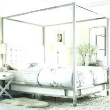 Tufted Canopy Bed White Leather Quilted Headboard White Leather ...