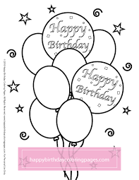 Happy Birthday Balloons Coloring Page 021