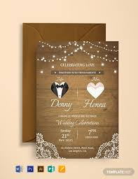 Free Vintage Wedding Invitation Card Template Word Psd