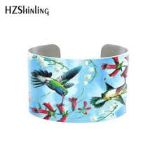 hummingbird gifts 2018 trendy hummingbird jewelry cuff bracelet wide metal bangle with humming birds