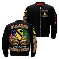 Us Army Cavalry Us Army 1st Cavalry Division Flight Over Print Jacket