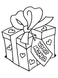 Kleurplaat Cadeau Voor Mama Moederdag Kleurplatennl Moederdag