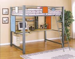 image of metal loft bed with desk underneath