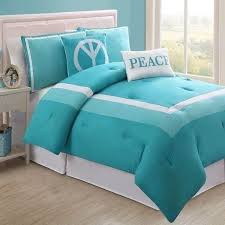 girls twin full bed turquoise blue white peace hotel 5 pc comforter set bedding