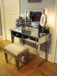mirrored glass makeup vanity set with lighting and foamy chair pictures sets for bedroom gallery