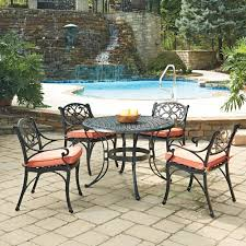 home styles biscayne black 5 piece cast aluminum outdoor dining set with c cushions